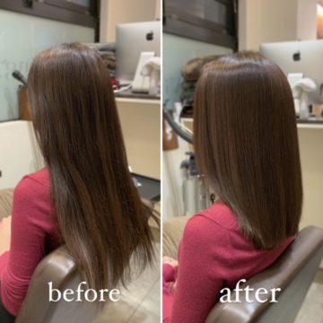縮毛矯正 艶髪 ミディアムヘア セミロング 赤坂美容院